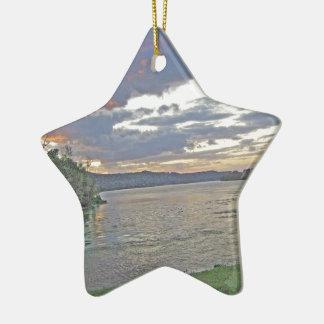A Sunrise Along The Ohio River Ceramic Ornament