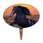 A sunset ocean horse oval cake toppers
