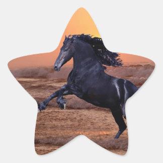 A sunset ocean horse star sticker