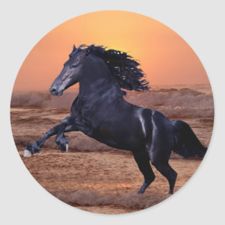 A sunset ocean horse round stickers