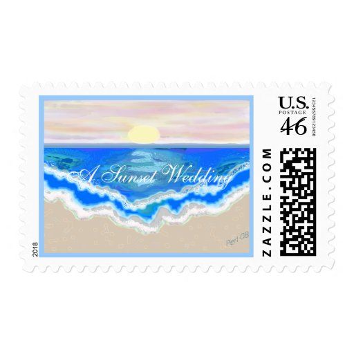 A Sunset Wedding Postage Stamp