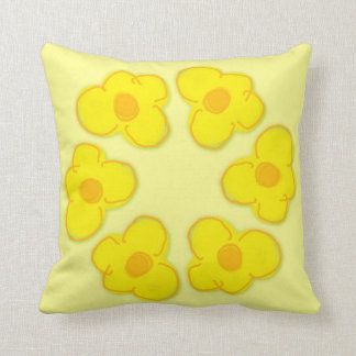 A sunshine cushion with 5 yellow flowers throw pillow