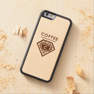 A Supercaffeinated Superhero - Coffee Brown Carved Maple iPhone 6 Bumper Case