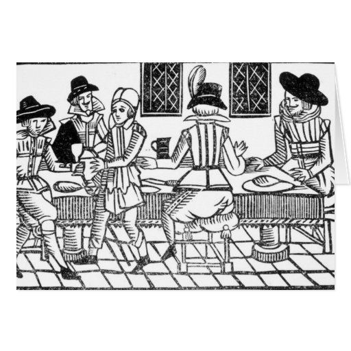 A Supper Party, a 'Book of Roxburghe Ballads' Card