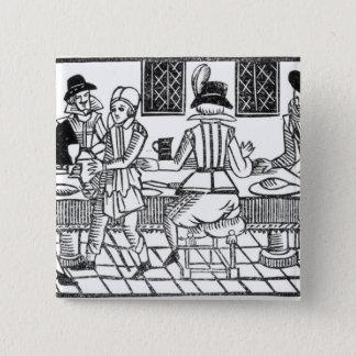 A Supper Party, a 'Book of Roxburghe Ballads' Pinback Button