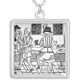 A Supper Party, a 'Book of Roxburghe Ballads' Square Pendant Necklace