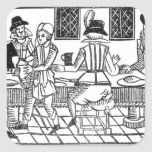 A Supper Party, a 'Book of Roxburghe Ballads' Square Stickers
