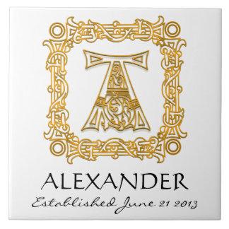 """A"" Surname Wedding Anniversary Day Monogram Tile"