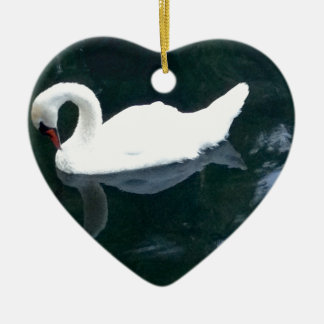 A Swan and Her Reflection Ceramic Ornament