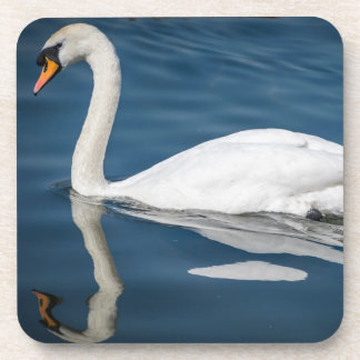 A swan and its reflection hard plastic coasters