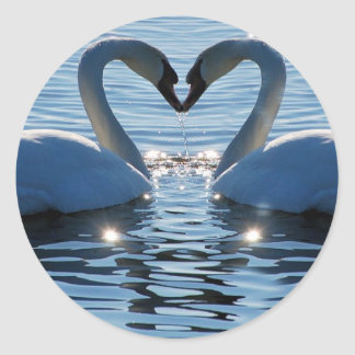 A Swan Heart Kiss, Reflections of Love Classic Round Sticker