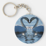 A Swan Heart Kiss, Reflections of Love Keychains