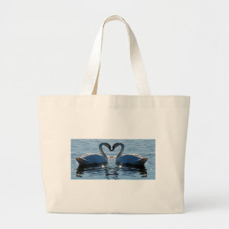 A Swan Heart Kiss, Reflections of Love Large Tote Bag