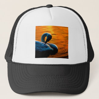 A Swan Taking a Last Minute Swim at Sunset Trucker Hat