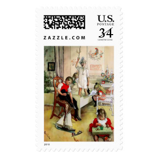 "A Swedish ""Christmas Morning"" by C. Larsson Postage Stamp"