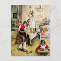 "A Swedish ""Christmas Morning"" by Carl Larsson Holiday Postcard"