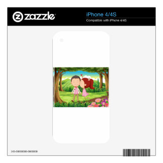A sweet and loving couple at the forest decal for iPhone 4
