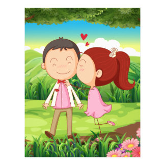 A sweet and loving couple at the forest letterhead