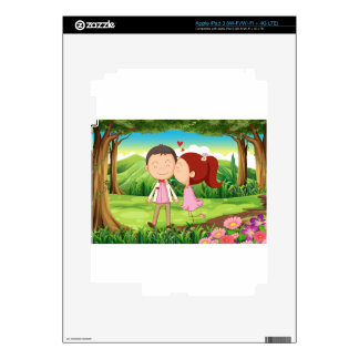 A sweet and loving couple at the forest skins for iPad 3