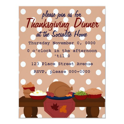A Sweet and Simple Thanksgiving Dinner 4.25x5.5 Paper Invitation Card