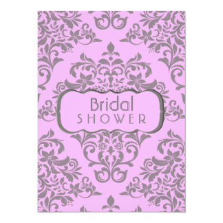 A Sweet Array Of Pink and Gray 5.5x7.5 Paper Invitation Card