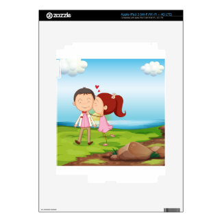 A sweet couple near the river decal for iPad 3