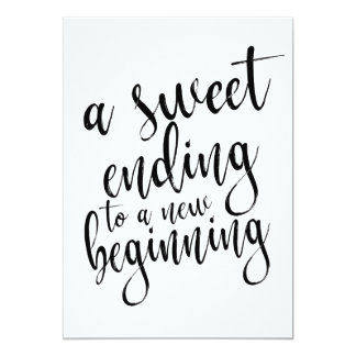 A sweet ending to a new beginning affordable sign card