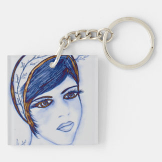 A Sweet Flapper in Blues and Brown Acrylic Key Chains