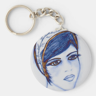 A Sweet Flapper in Blues and Brown Key Chains