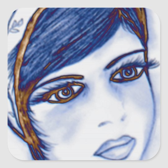 A Sweet Flapper in Blues and Brown Square Sticker