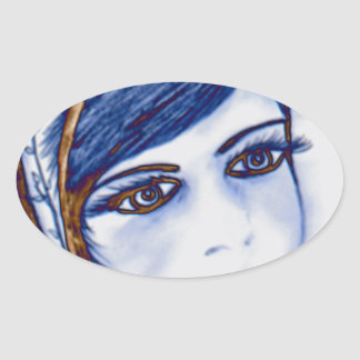 A Sweet Flapper in Blues and Brown Oval Sticker