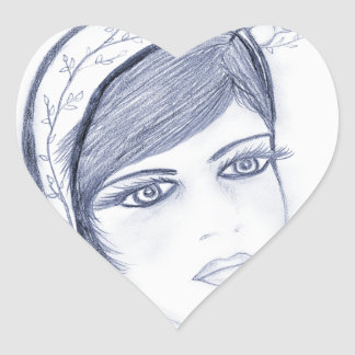 A Sweet Flapper in Dusky Blue Heart Sticker