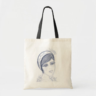 A Sweet Flapper in Dusky Blue Tote Bag
