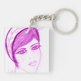 A Sweet Flapper in Hot Pink Acrylic Keychains