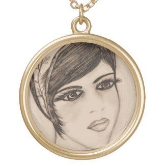 A Sweet Flapper in Sepia Gold Plated Necklace