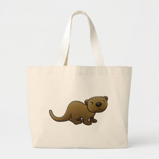 A sweet friendly otter large tote bag