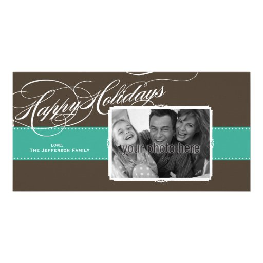 A Sweet Holiday Photo Card in Teal and Brown