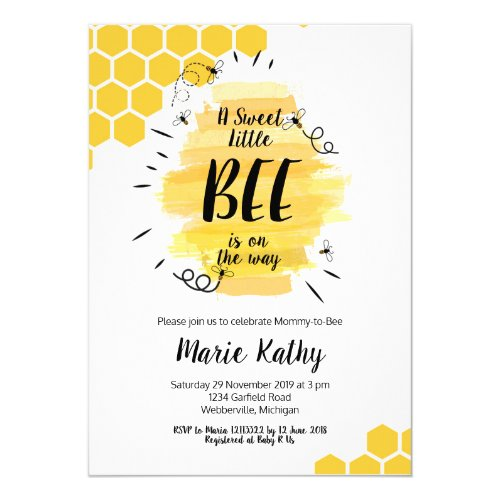 a sweet little bee is on the way baby shower invitation