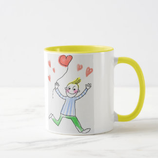 A sweet little boy wishes mom a happy mother's day mug