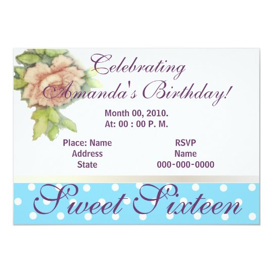 A Sweet Sixteen Rose Invitation-Customize Card