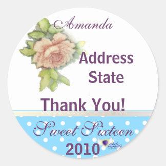 A Sweet Sixteen Rose Sticker-Customize Classic Round Sticker