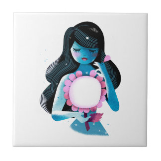 A sweet young Girl asking a Flower a Love Question Ceramic Tile