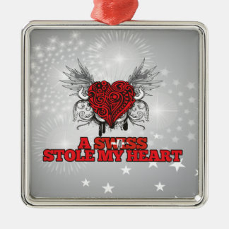 A Swiss Stole my Heart Square Metal Christmas Ornament