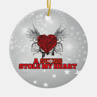 A Swiss Stole my Heart Double-Sided Ceramic Round Christmas Ornament