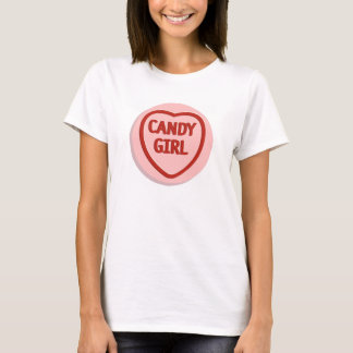 A t-shirt depicting a love-hearts candy/sweet