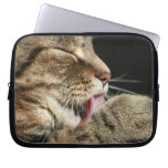 A tabby cat licking his paw. laptop sleeves