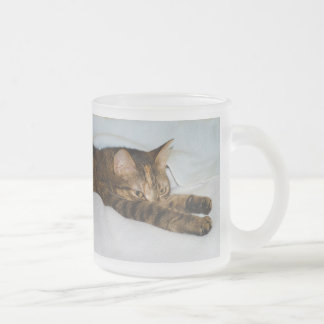 A Tabby Cat Stretching Felis Silvestris Catus 10 Oz Frosted Glass Coffee Mug