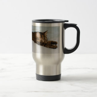 A Tabby Cat Stretching Felis Silvestris Catus 15 Oz Stainless Steel Travel Mug