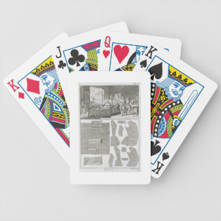 A tailor's workshop and patterns, from the 'Encycl Bicycle Playing Cards