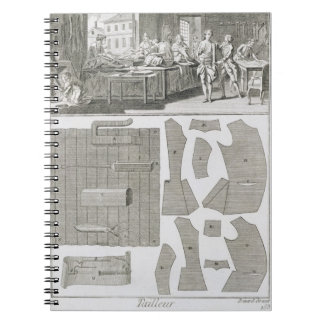 A tailor's workshop and patterns, from the 'Encycl Notebook
